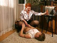 Mature Milf Rubs Her Pussy For Younger Man