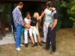 Blonde Woman Gangbanged By Four Horney Guys
