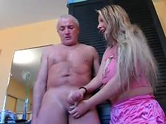Young German Girl Plays With His Old Hard Cock