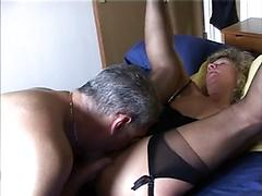 Horny Mature In Stockings On Bed Loves Oral Sex And Fucking