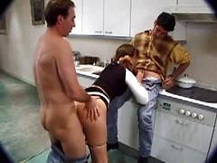 Nasty House Wife Gets Fucked By Two Guys