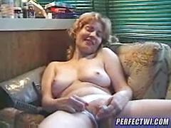 Sexy Granny Gets Naked And Masturbates On The Couch