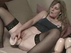 Horny Ex Babe Plugs Her Pussy With A Huge Dildo