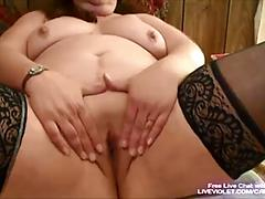 Mature bbw fucks her fat pussy with toy
