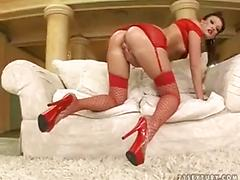 Sexy brunette in red stocking dp