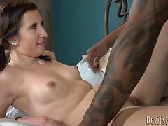 Stepdaughter rides rock-hard ebony weenie in this multiracial vignette