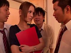 Two crazy dudes fuck a pretty hot Japanese teacher in a classroom