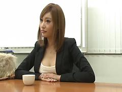 Pretty looking Japanese girl gets fucked by her interviewer