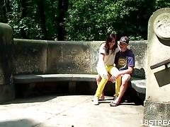 Teens Benedikta and Cyril kiss in a park and fuck indoors
