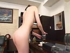 Nude chick Yui Tatsumi gets screwed in a doggystyle in the office