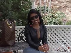 Black busty chick in tight jeans has hot sex with her black dude