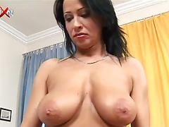 Brunette slut with big tits gets her cunt fisted by a lesbian GF