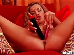 Hot naughty girl with curly hair masturbates with sex toys
