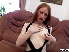 Voluptuous redhead bitch blows two cocks gets double penetrated