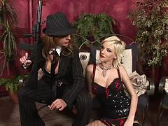 Appealing lesbian girls with fake boobs play a horny couple