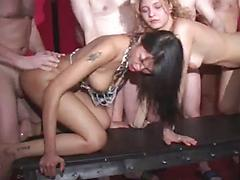 Crazy whores gets roughly screwed and covered with cum