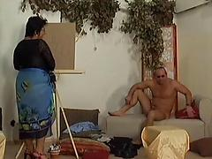 Fat Latina granny deepthroats and rides cock of a hot dude